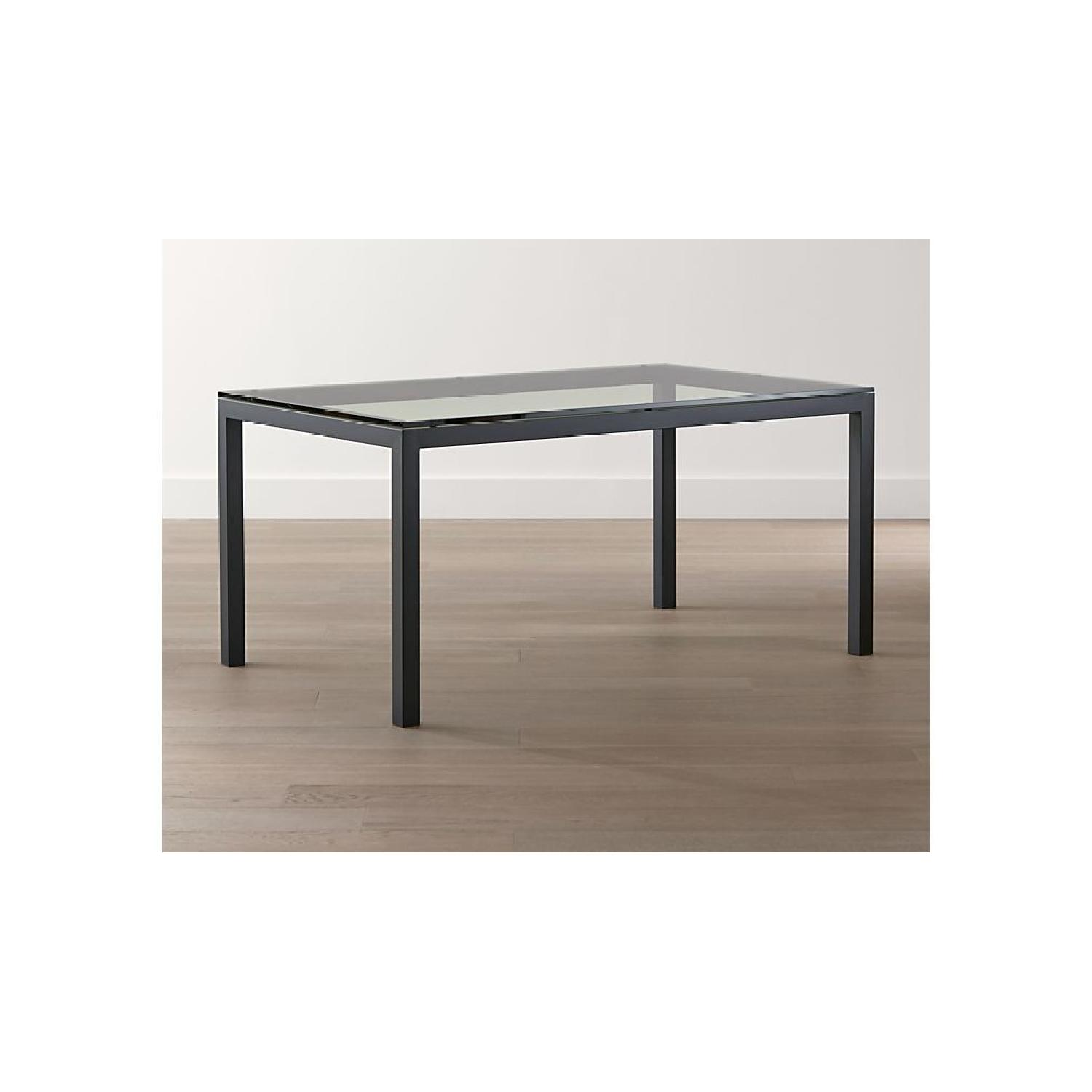 Crate & Barrel Parsons Glass Top/Steel Base Dining Table-0