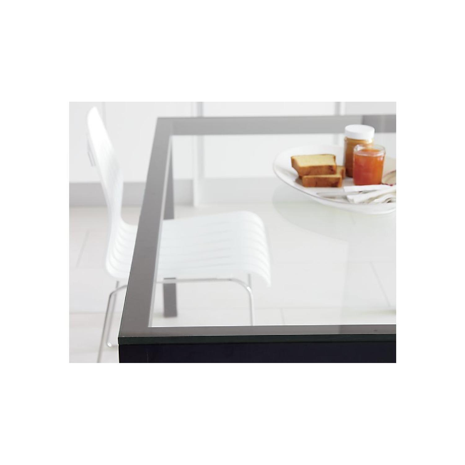 Crate & Barrel Parsons Glass Top/Steel Base Dining Table-1