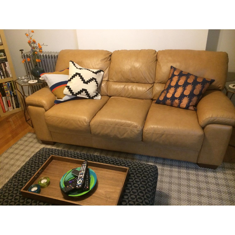 Raymour & Flanigan Camel Leather 3-Seater Sleeper Sofa-0