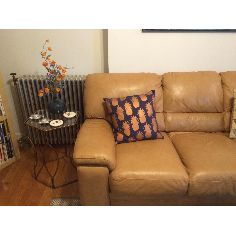 Raymour & Flanigan Camel Leather 3-Seater Sleeper Sofa-2