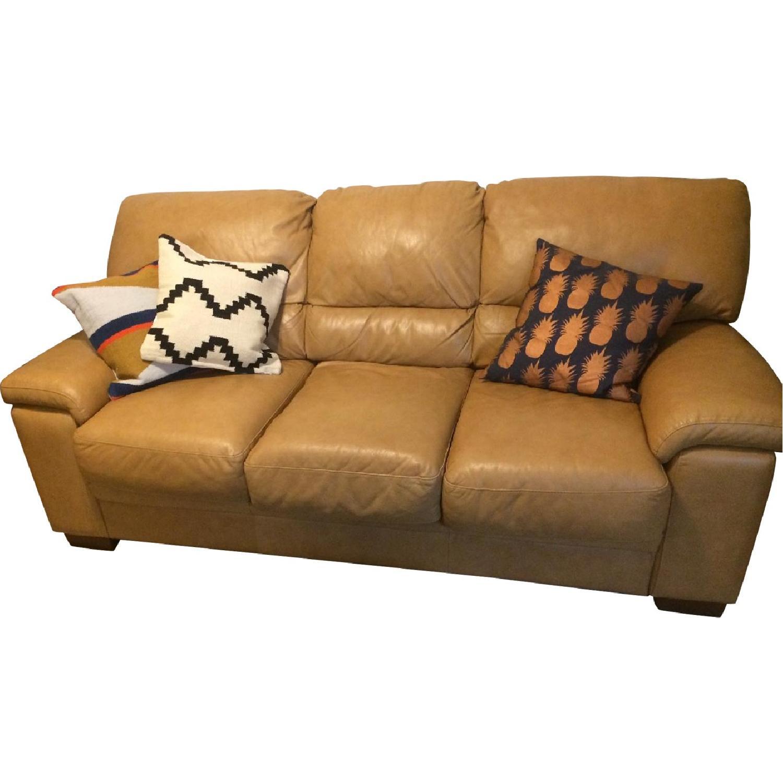 Raymour & Flanigan Camel Leather 3-Seater Sleeper Sofa