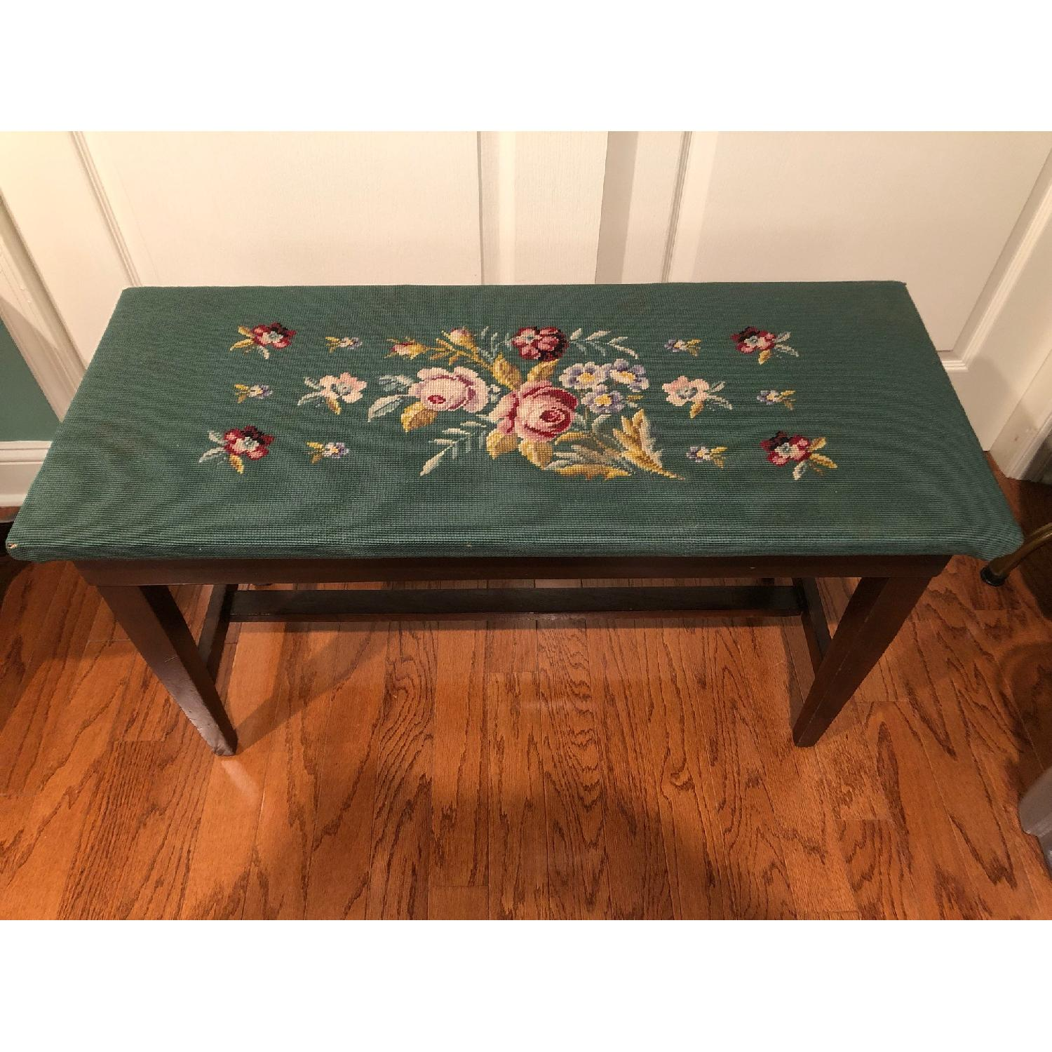 Antique Embroidered Floral Piano Bench-0