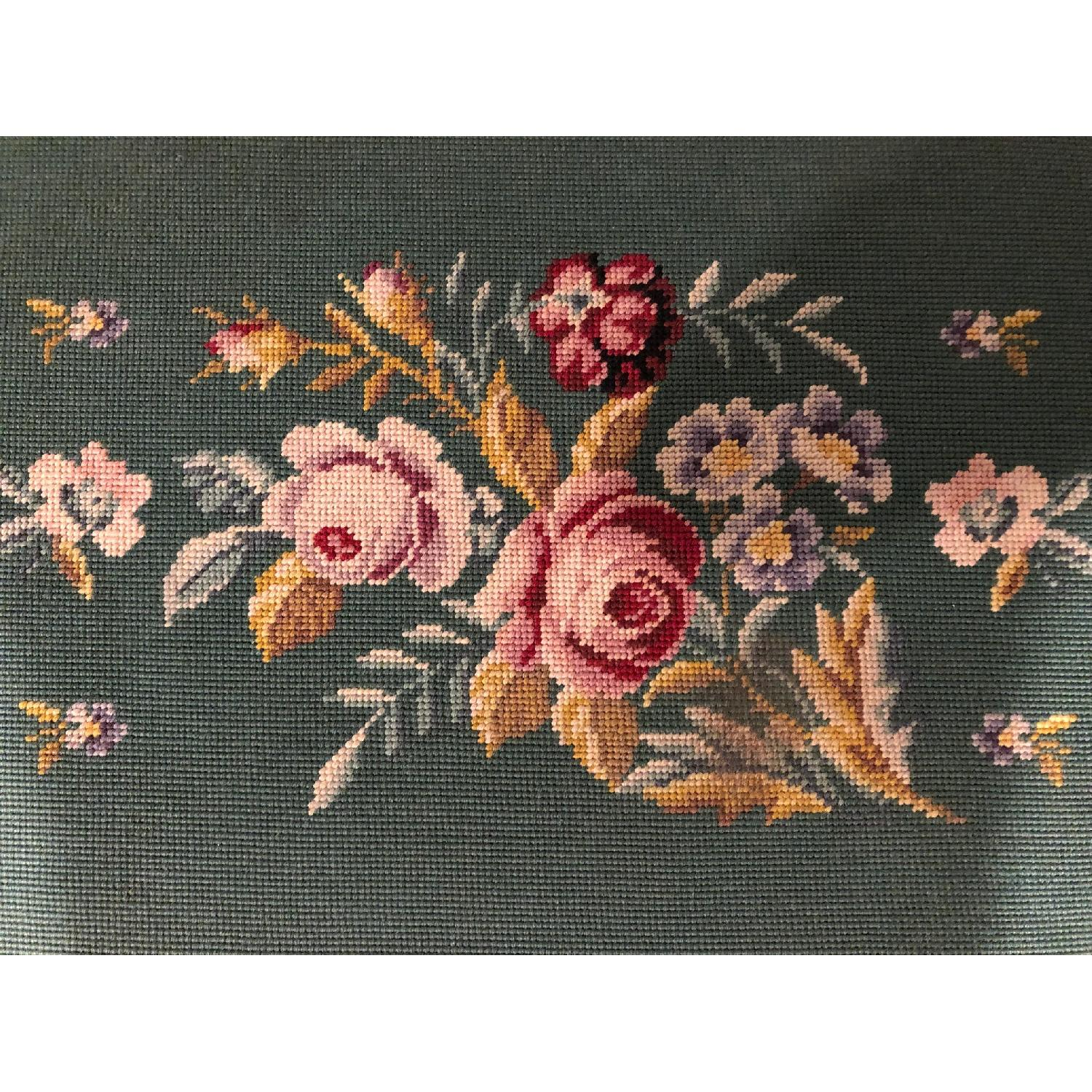 Antique Embroidered Floral Piano Bench-3