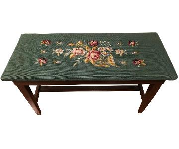 Antique Embroidered Floral Piano Bench