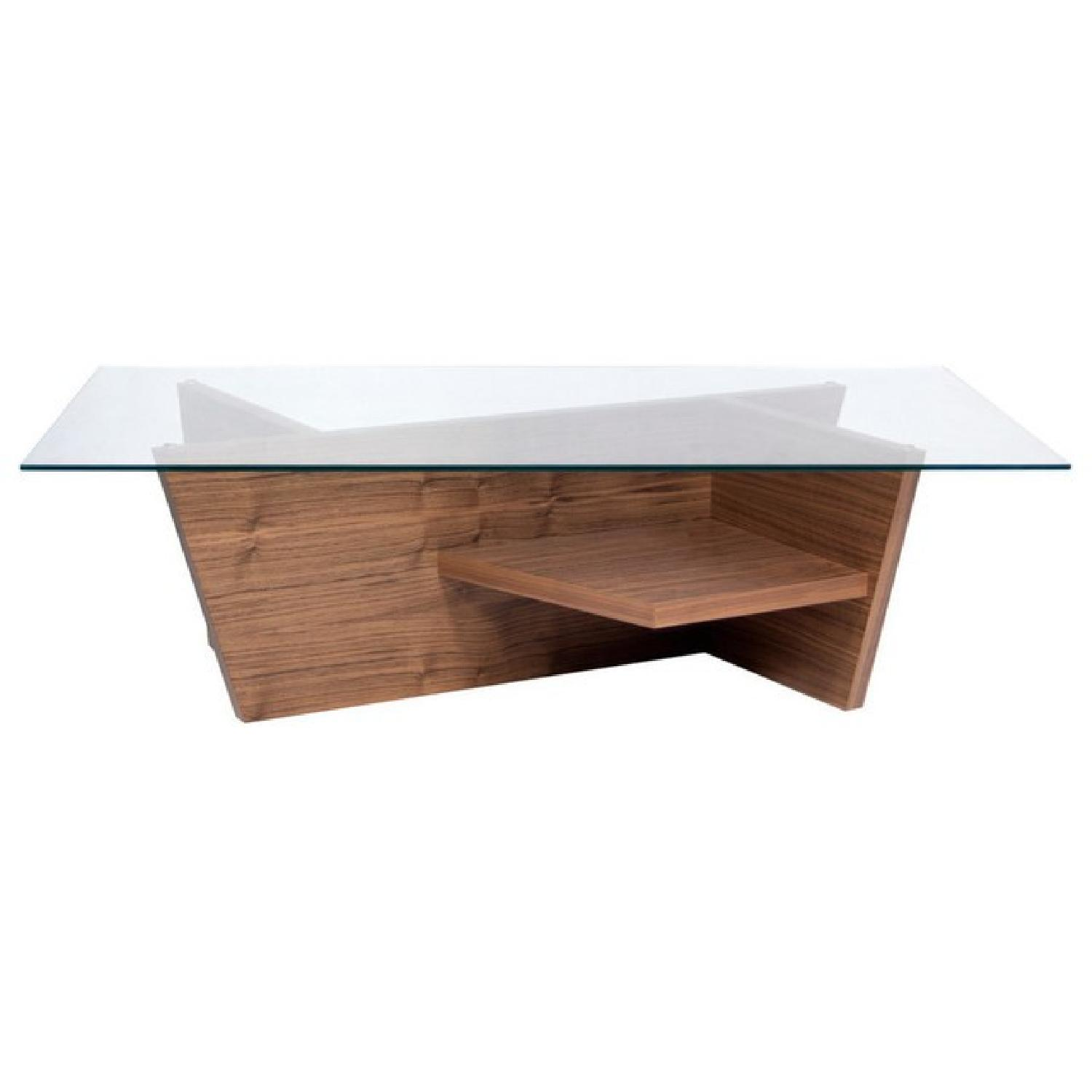 ABC Carpet & Home Oliva Glass Top/Walnut Base Coffee Table