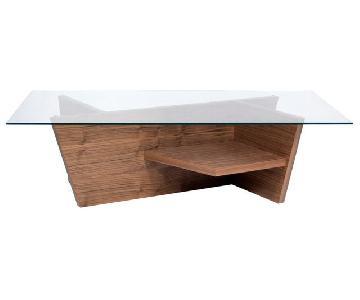ABC Carpet & Home Oliva Glass Top/Walnut Base Coffee Table