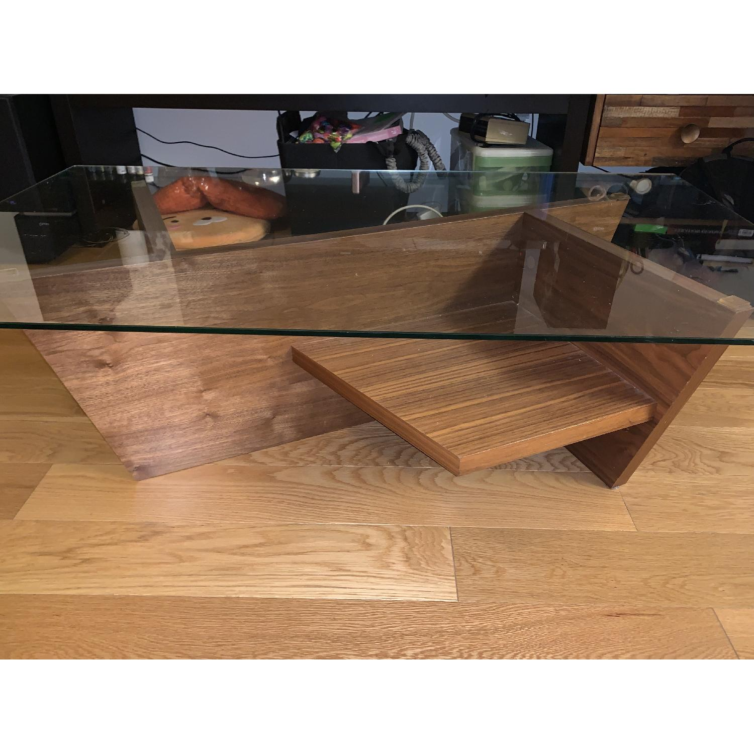 ABC Carpet & Home Oliva Glass Top/Walnut Base Coffee Table-1