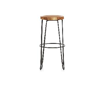 Crate & Barrel Origin Bar Stools w/ Teak Wood Top