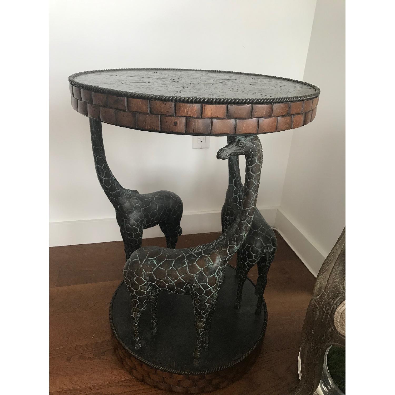 Maitland-Smith Giraffe End Table w/ Coco Shell Decor-0