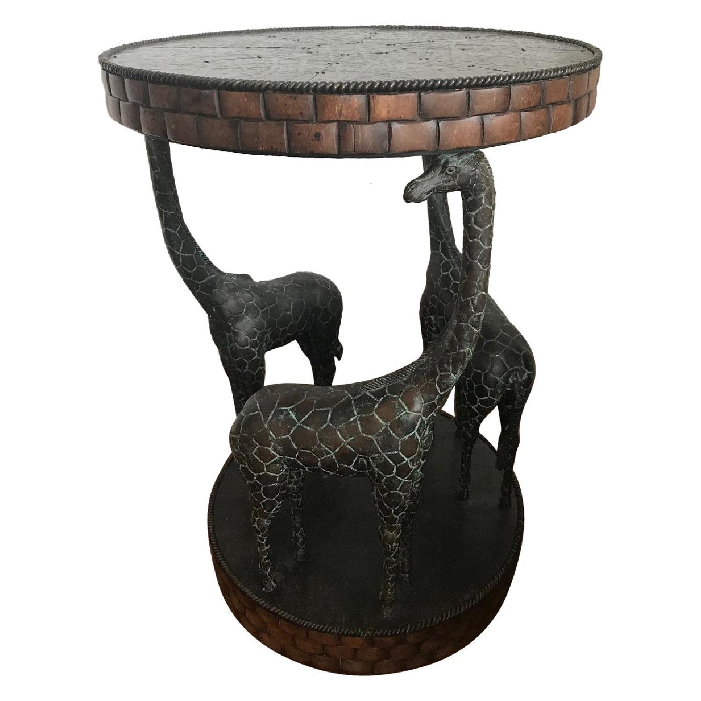 Maitland-Smith Giraffe End Table w/ Coco Shell Decor