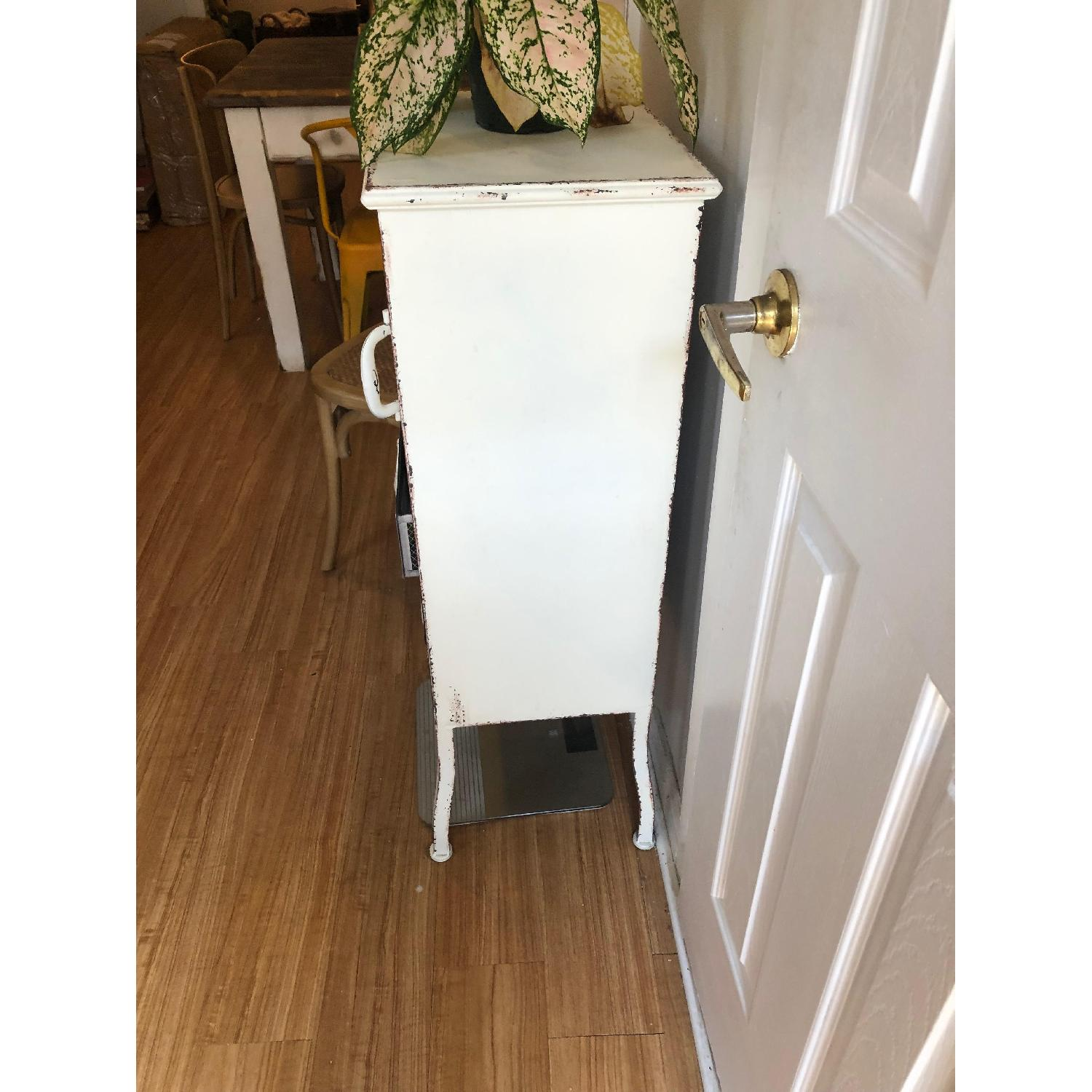 Distressed White Metal Cabinet w/ 3 Drawers-1
