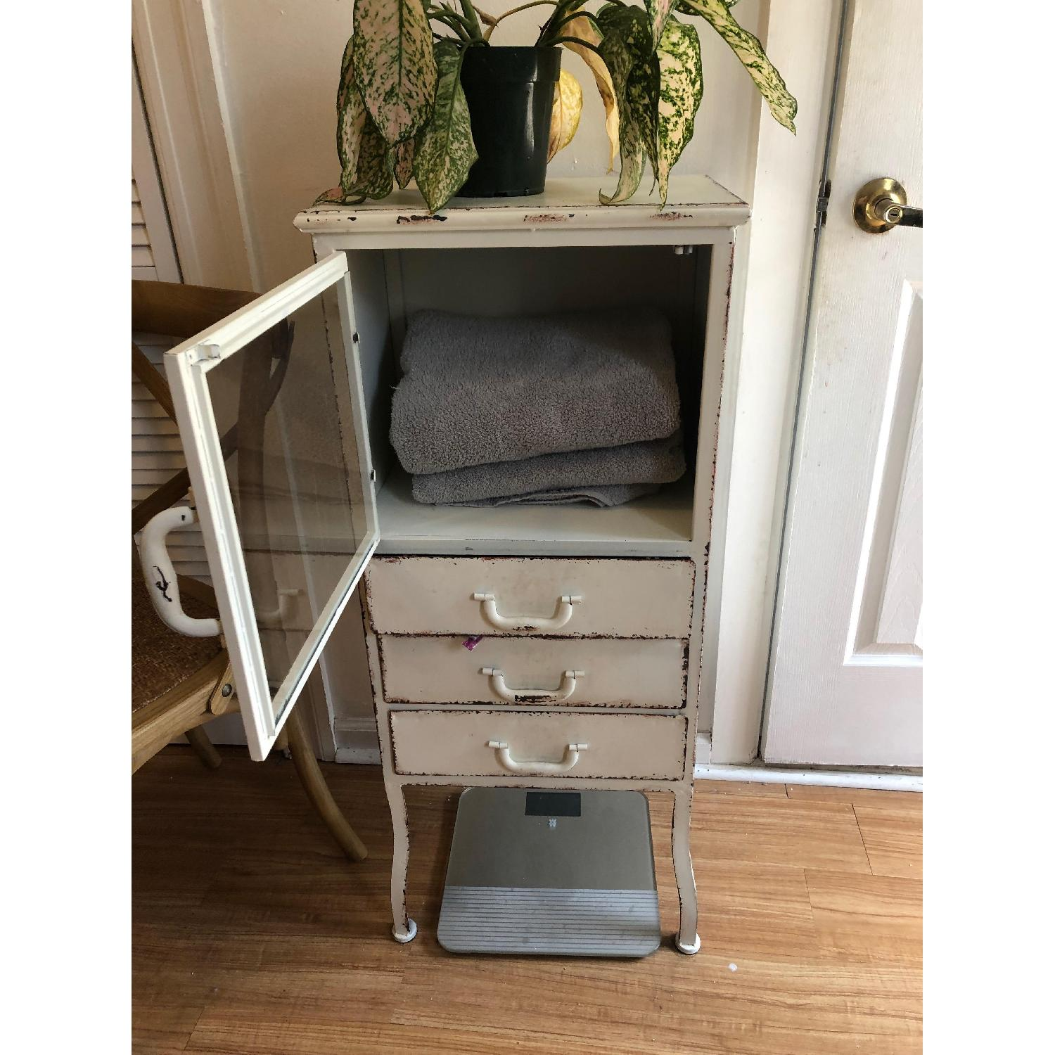 Distressed White Metal Cabinet w/ 3 Drawers-2