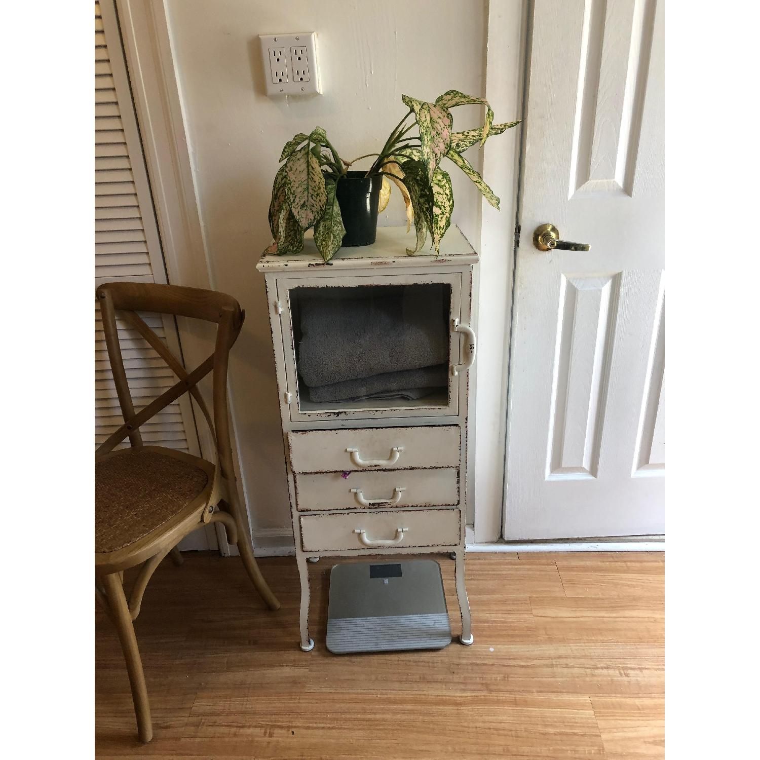 Distressed White Metal Cabinet w/ 3 Drawers-3