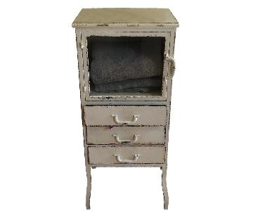 Distressed White Metal Cabinet w/ 3 Drawers