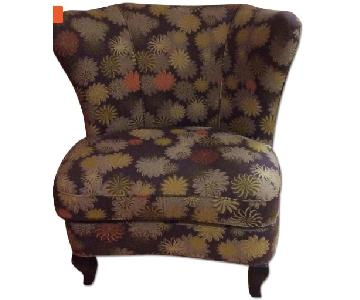 Crate & Barrel Floral Wingback Chair