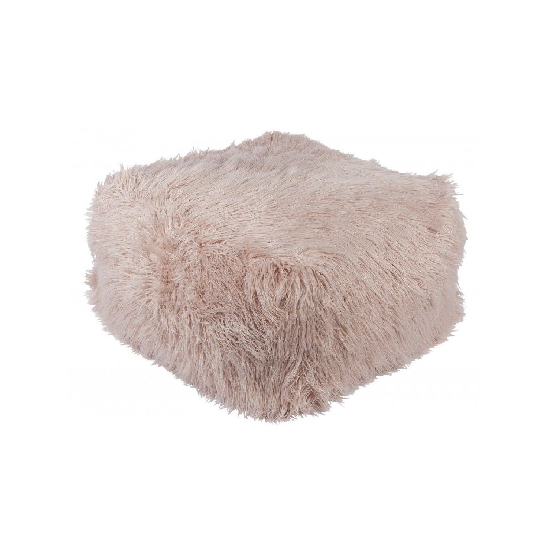 Lulu & Georgia Faux Fur Pouf in Blush