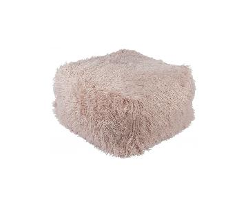 Lulu & Georgia Faux Fur Pouf in Blush