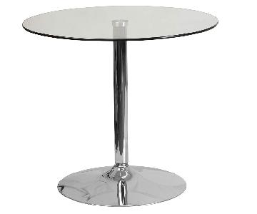 Round Glass Bistro Table w/ Chrome Base