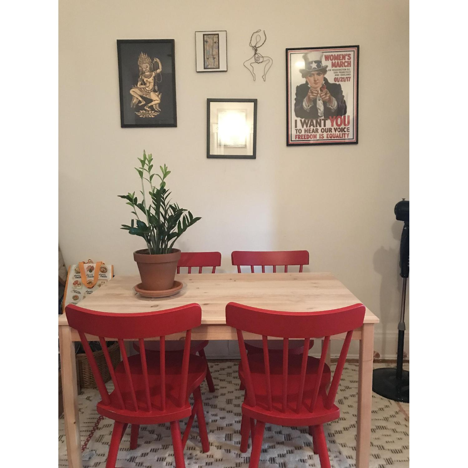 Ikea Ingo Natural Pinewood Dining Table w/ 4 Norraryd Chairs-0