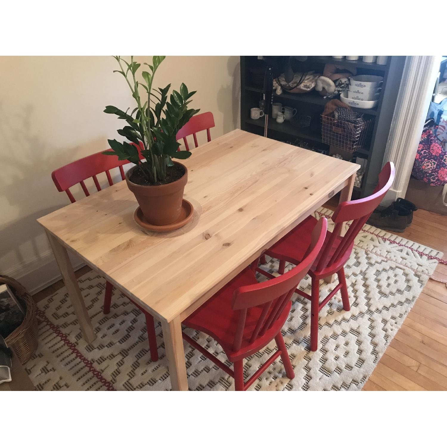 Ikea Ingo Natural Pinewood Dining Table w/ 4 Norraryd Chairs-1