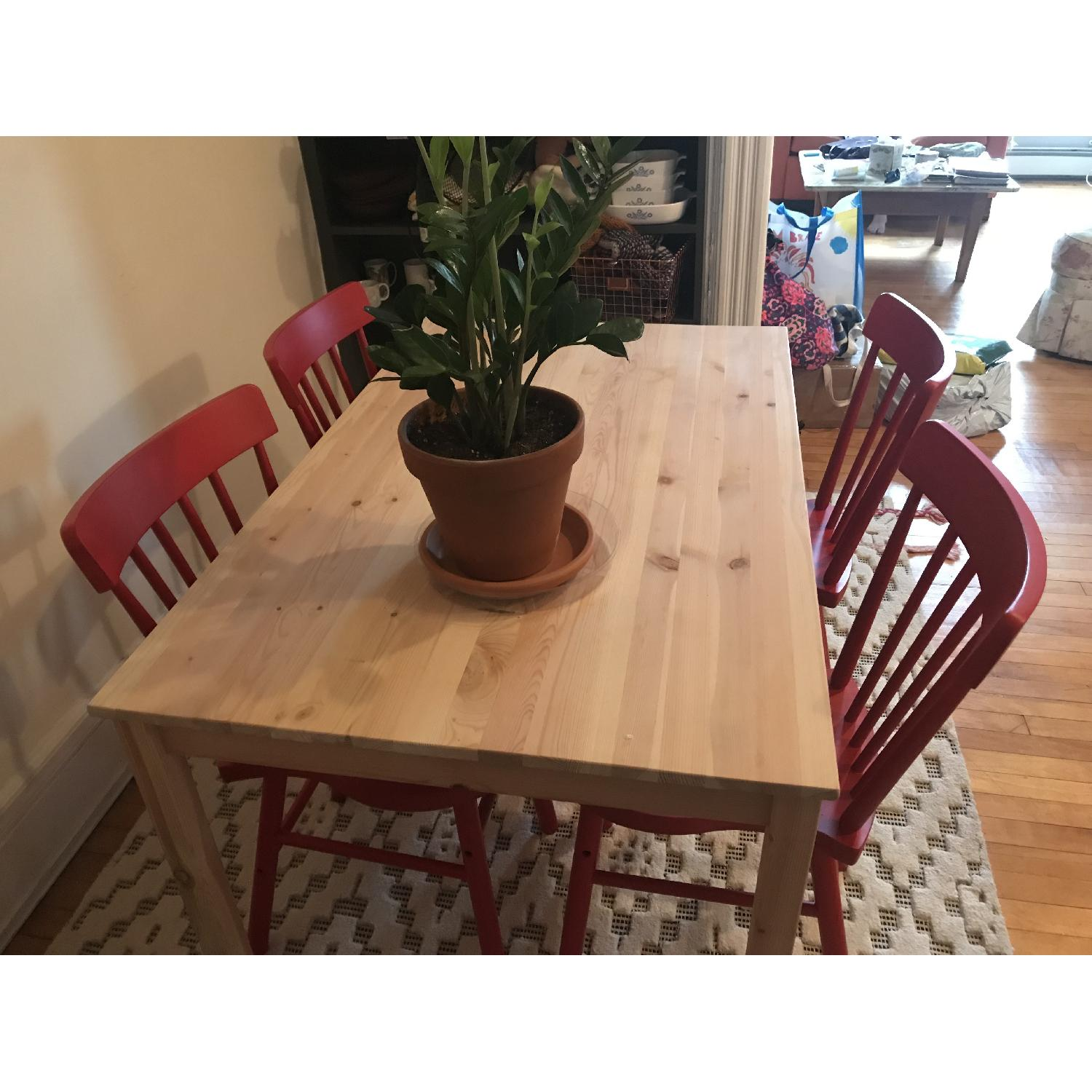 Ikea Ingo Natural Pinewood Dining Table w/ 4 Norraryd Chairs-2
