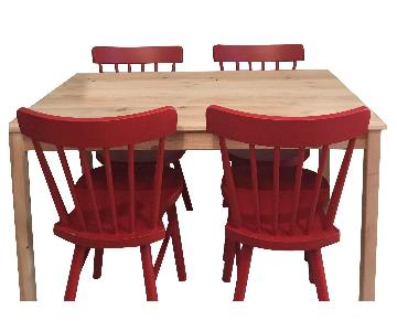 Ikea Ingo Natural Pinewood Dining Table w/ 4 Norraryd Chairs