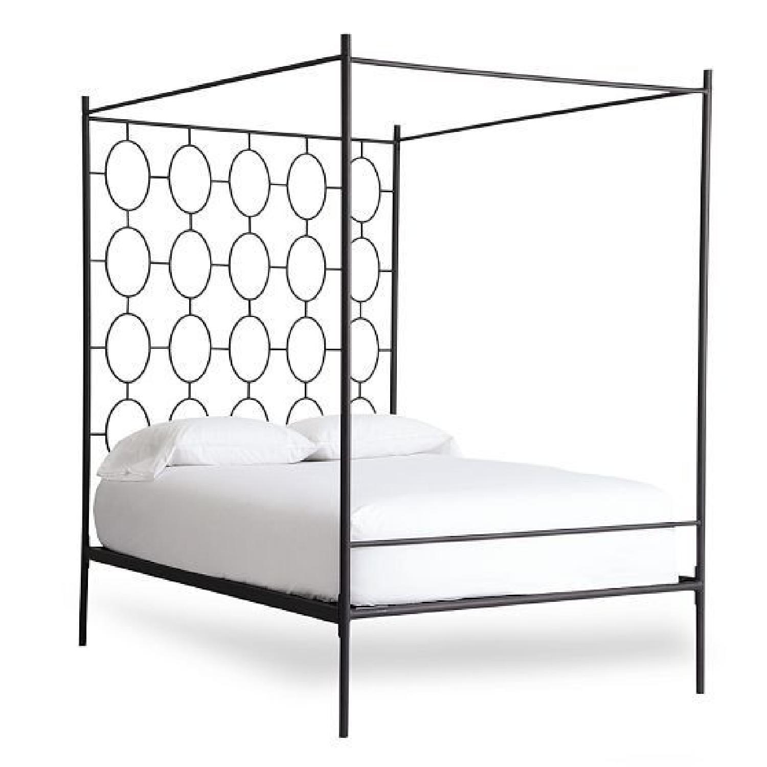 West Elm Ellipse Metal Canopy Bed Frame w/ Headboard