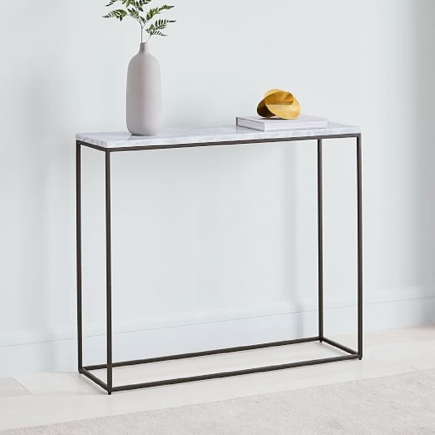 Miraculous West Elm Marble Metal Console Table Aptdeco Caraccident5 Cool Chair Designs And Ideas Caraccident5Info