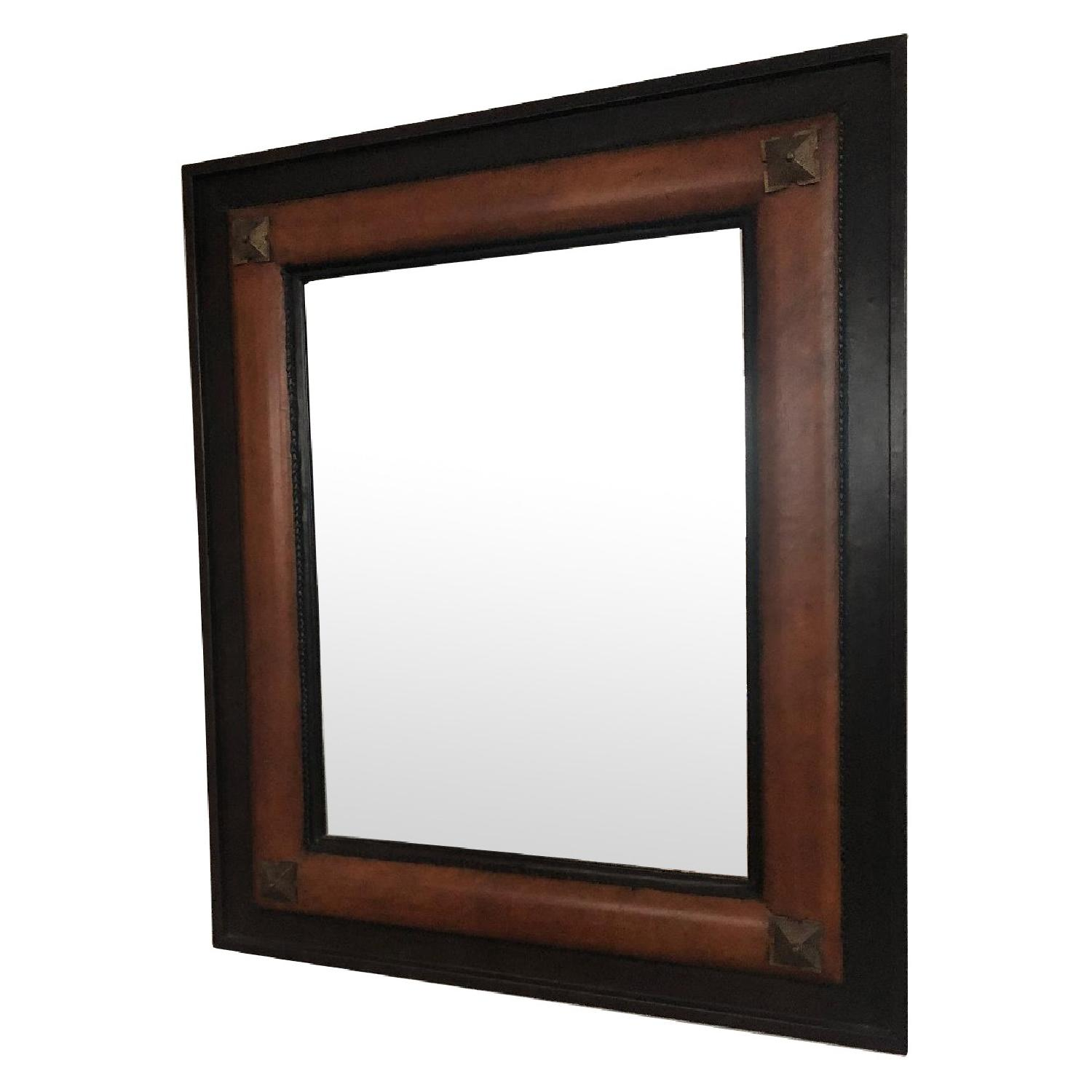 Indonesian Leather Wrapped Hanging Mirror