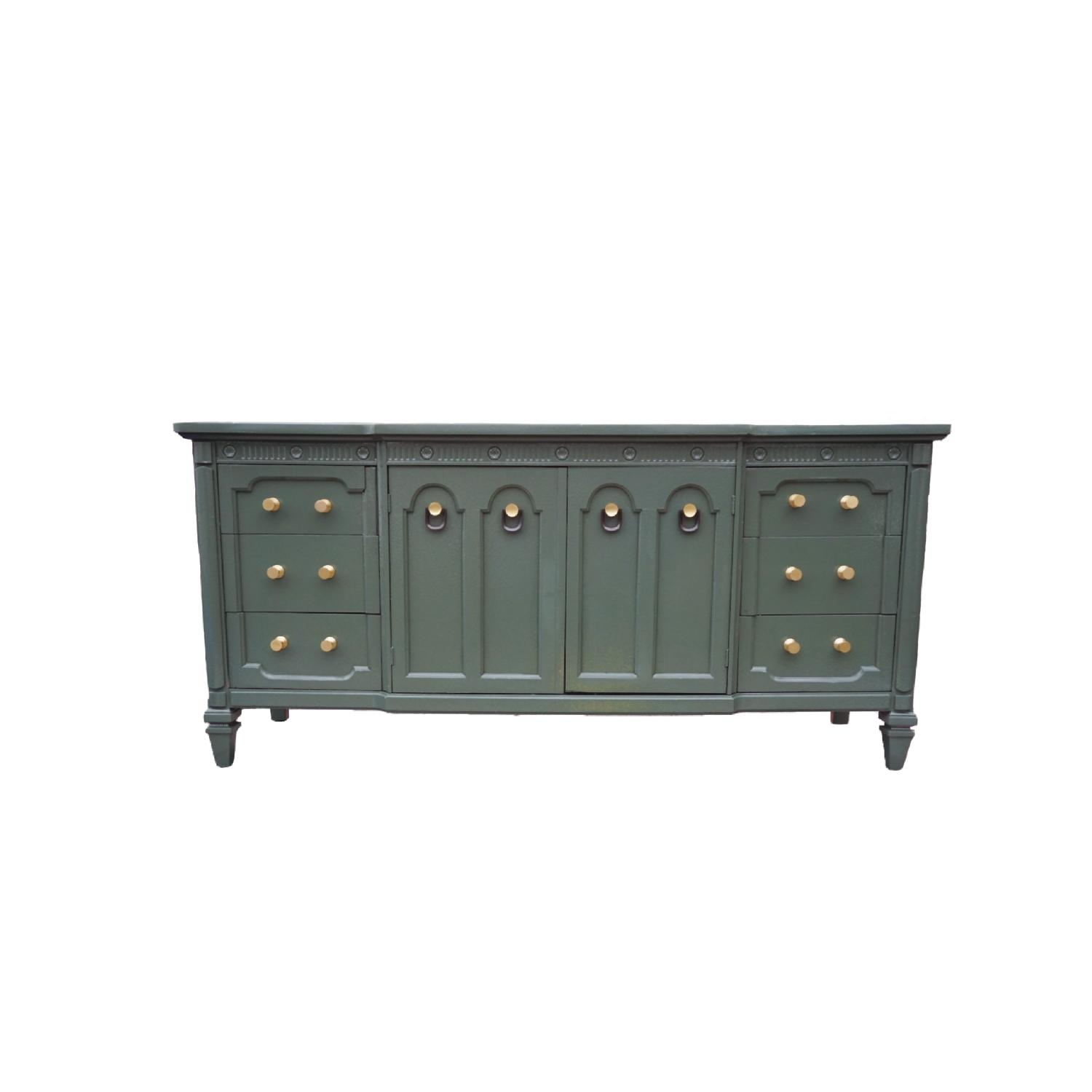Green Lacquered Traditional Dresser/Buffet-0