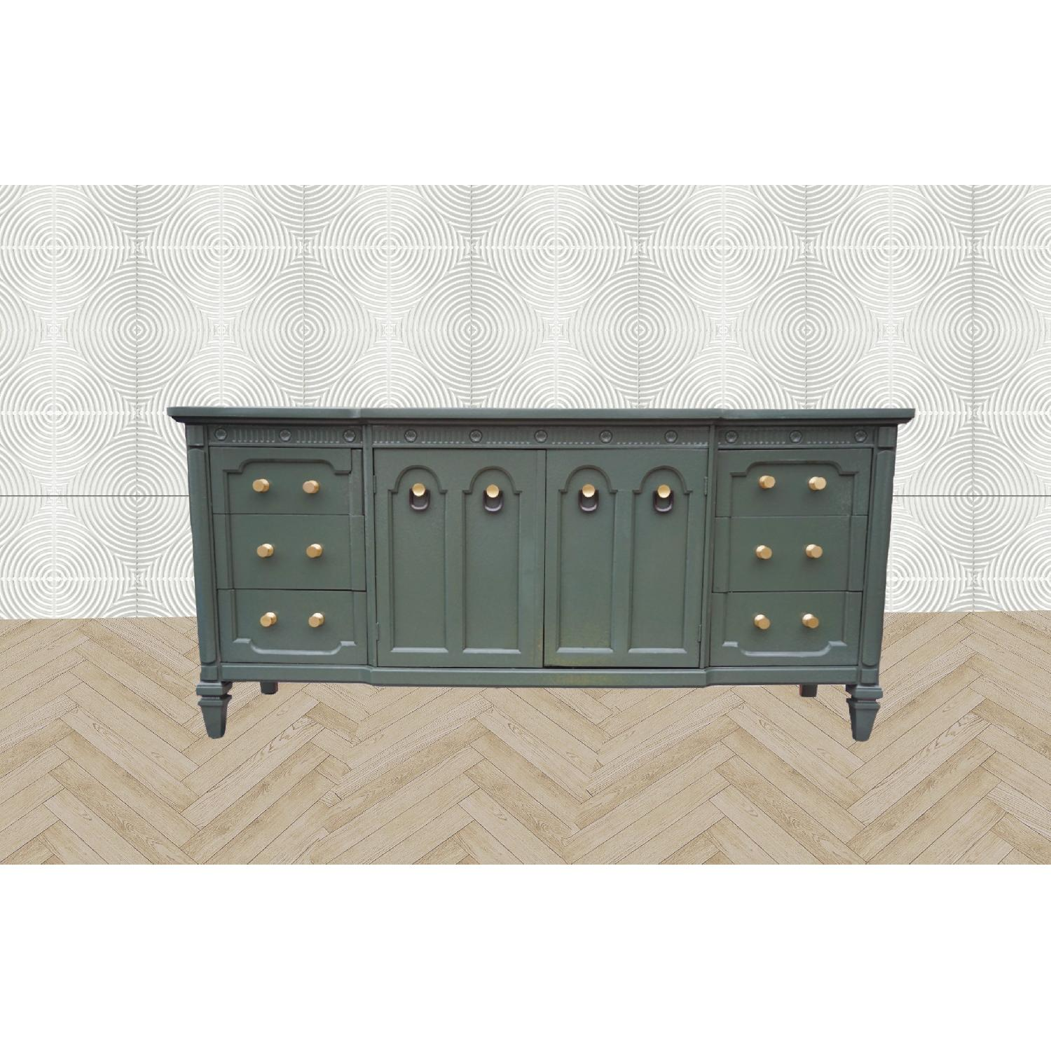 Green Lacquered Traditional Dresser/Buffet-1