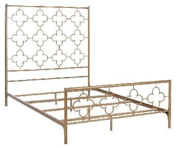 Kieran Gold Caleb Panel Lattice Queen Bed