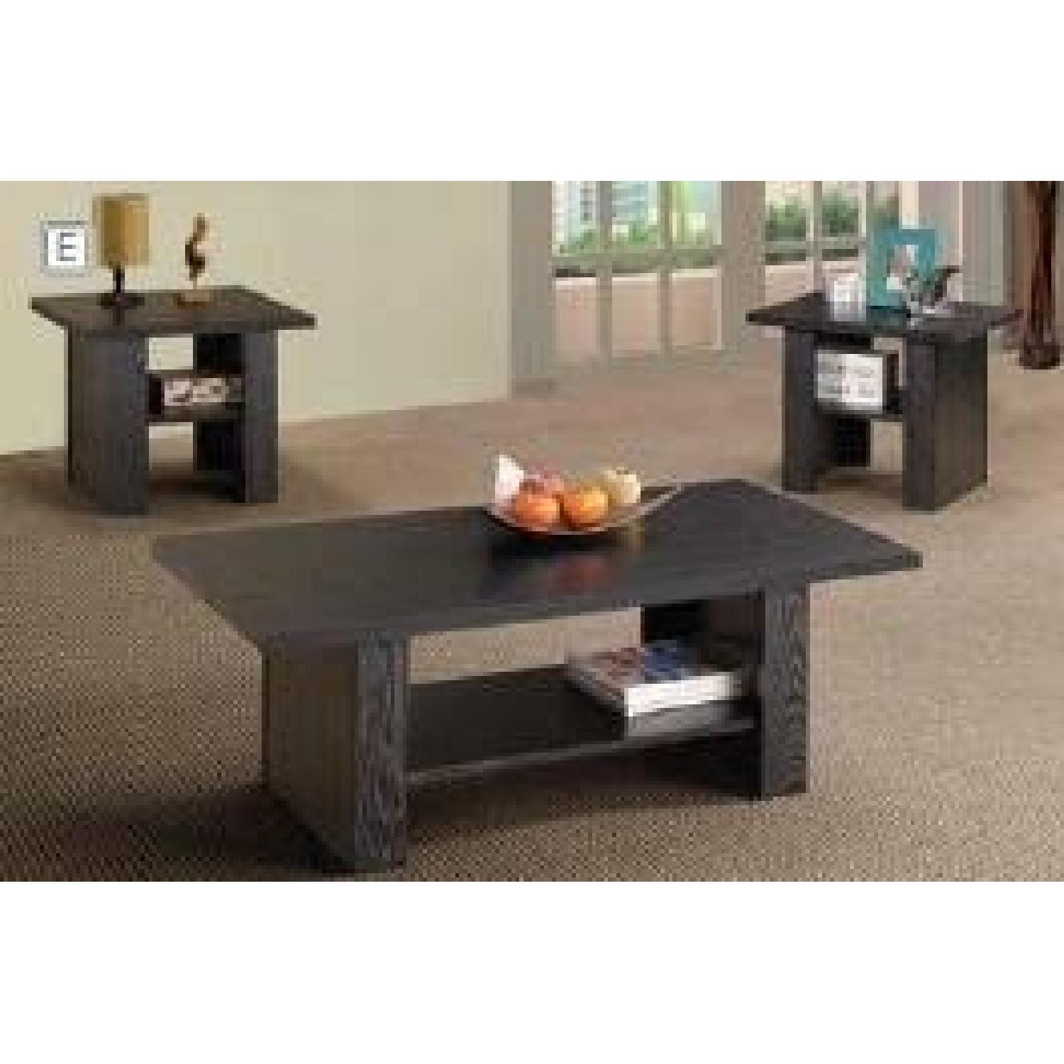 Black Oak Coffee Table + 2 End Tables-1