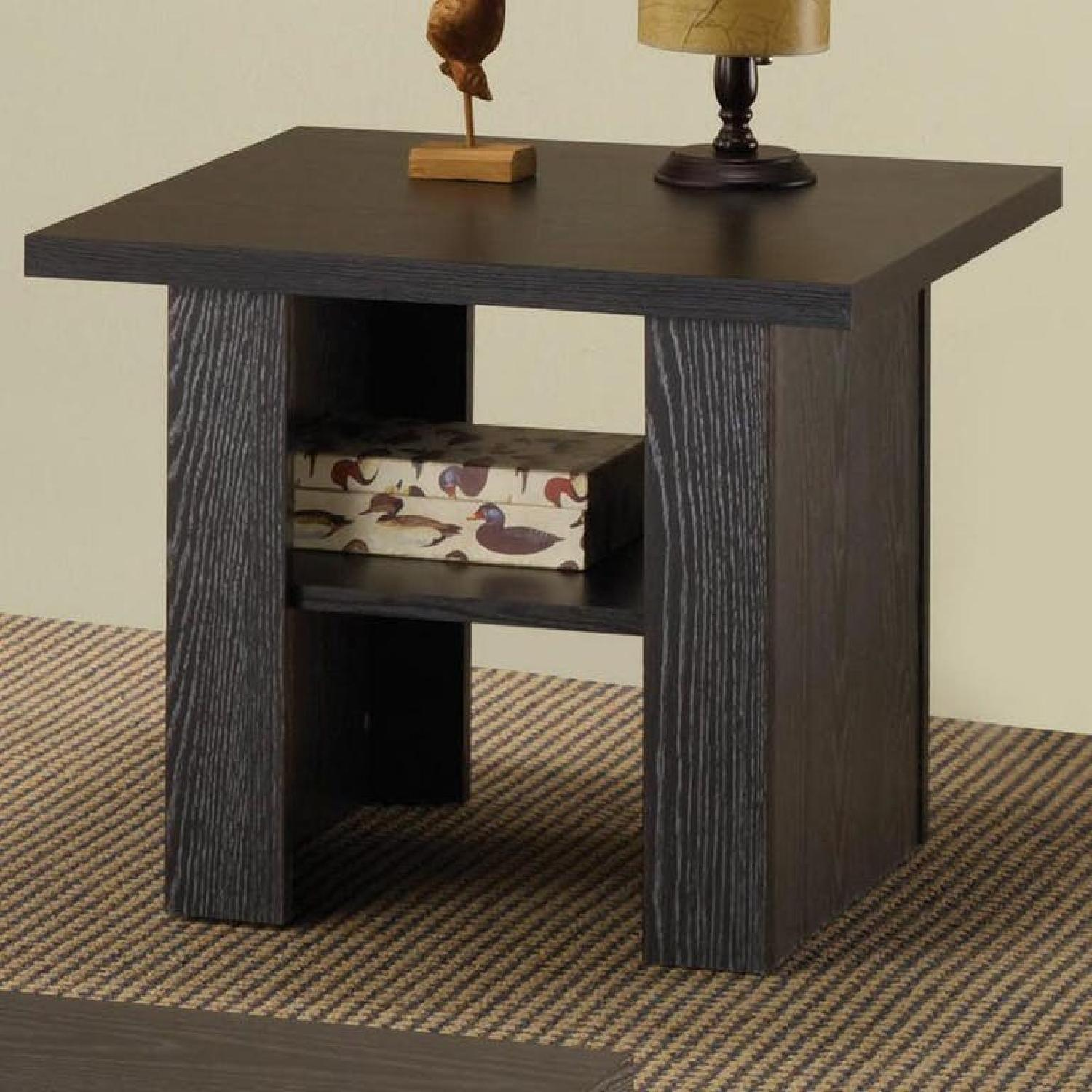 Black Oak Coffee Table + 2 End Tables-2