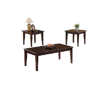 Cappuccino Oak Coffee Table + 2 End Tables