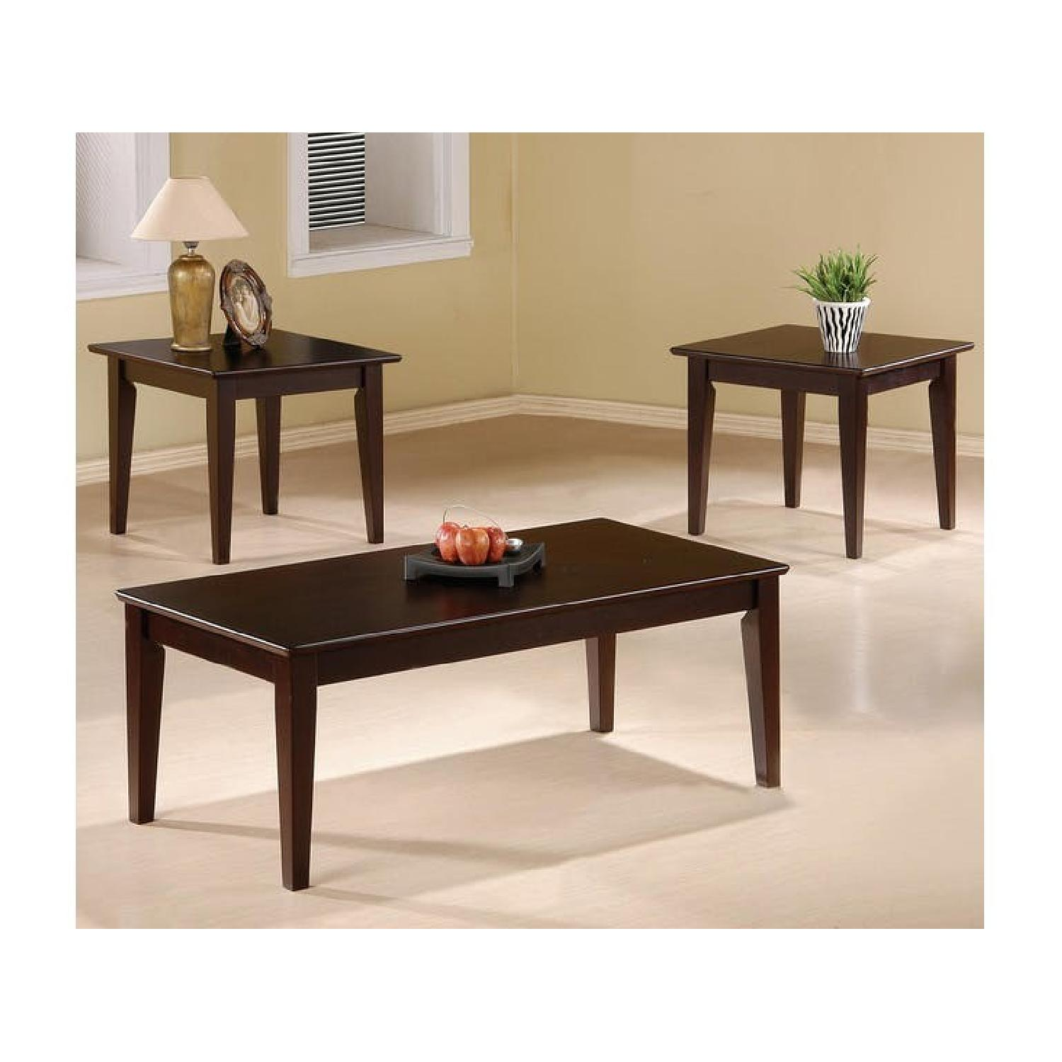 Cappuccino Oak Coffee Table + 2 End Tables-0