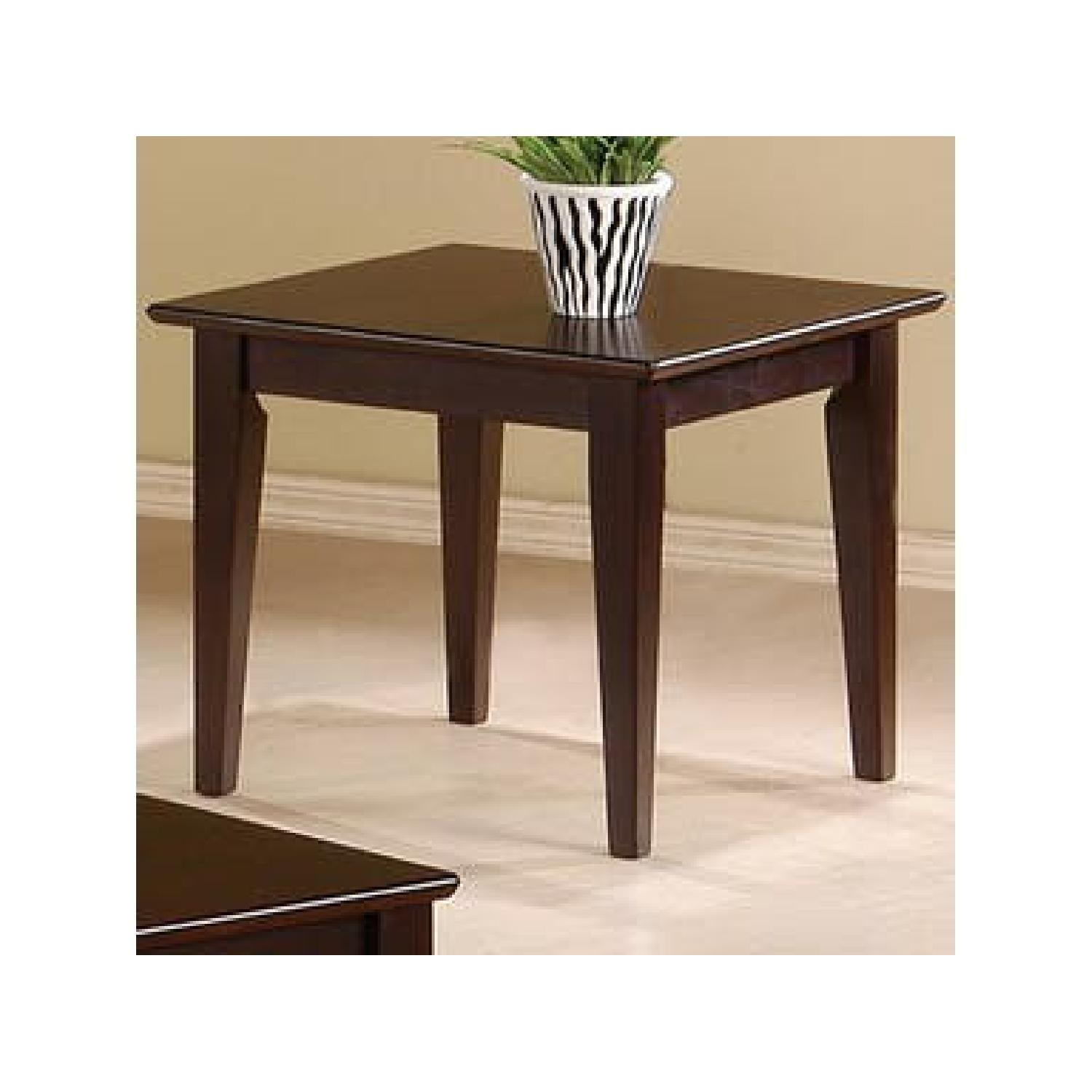 Cappuccino Oak Coffee Table + 2 End Tables-1