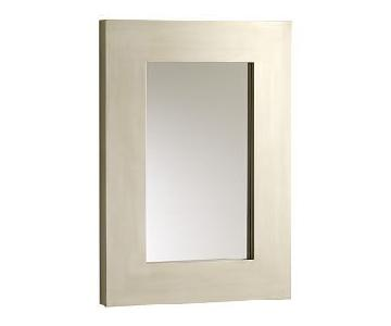 West Elm Chunky Wood Wall Mirror in Silver