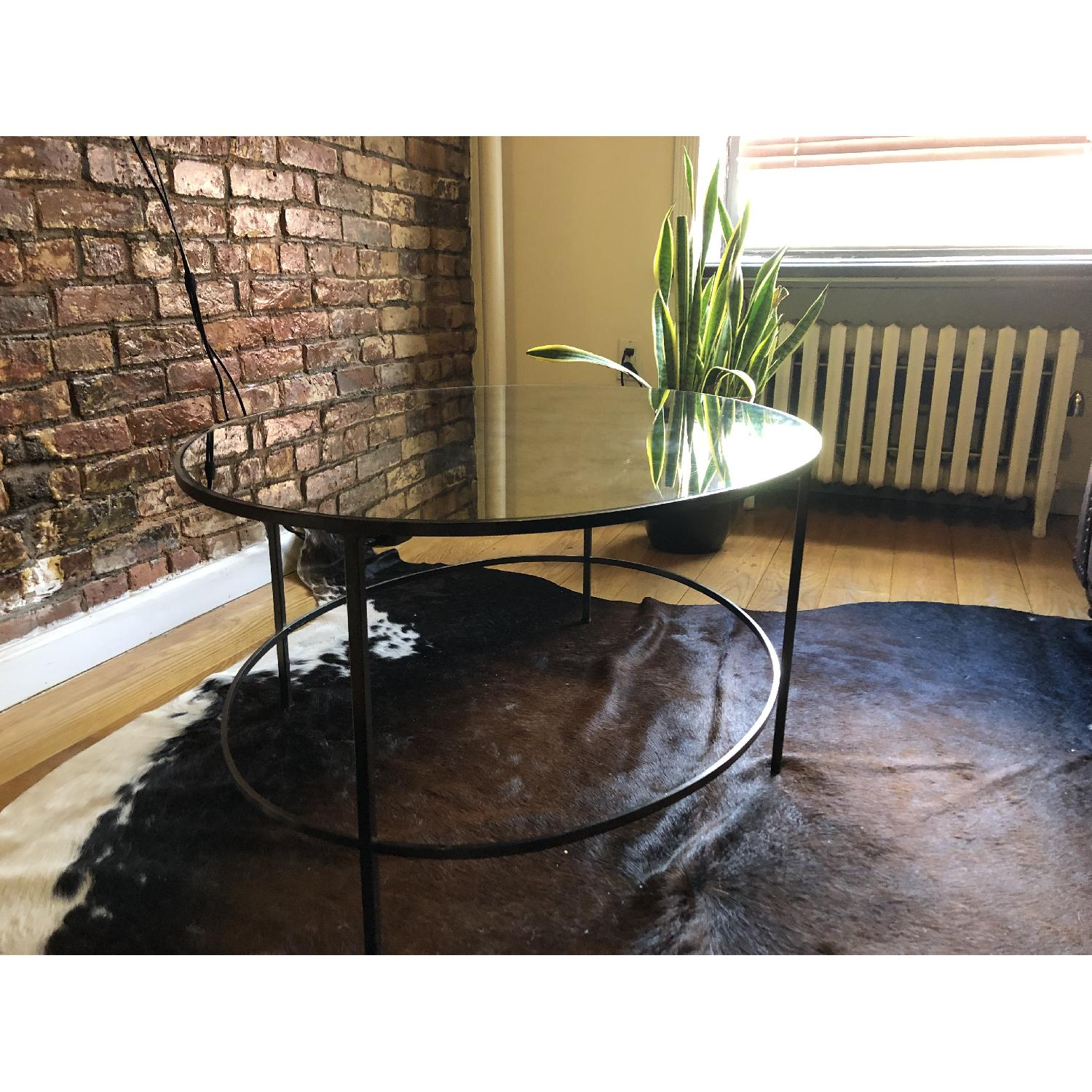 West Elm Foxed Mirror Oval Coffee Table-0