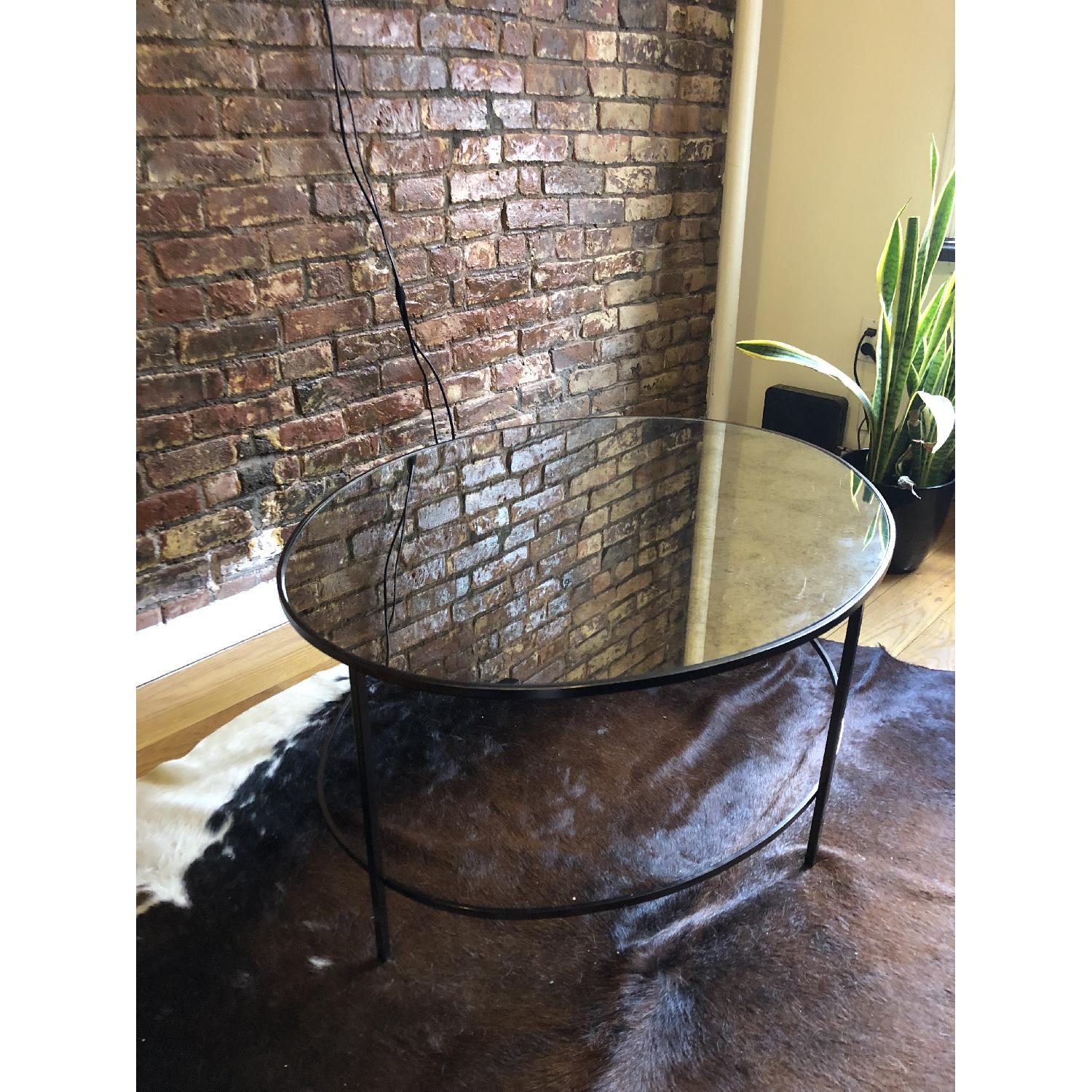 West Elm Foxed Mirror Oval Coffee Table-1