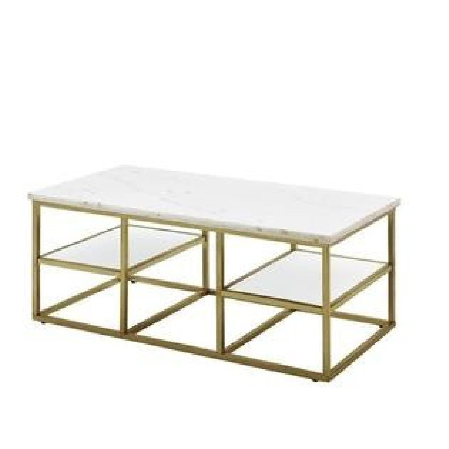 Marble Top Coffee Table w/ Brass Legs - image-0