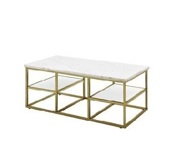 Marble Top Coffee Table w/ Brass Legs