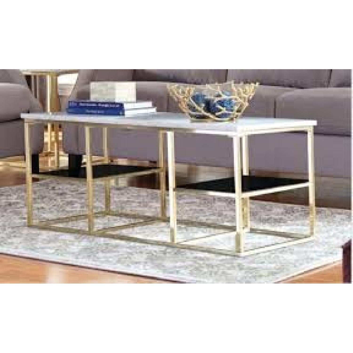 Marble Top Coffee Table w/ Brass Legs - image-3