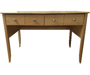Modern Natural Wood Desk w/ 2 Drawers