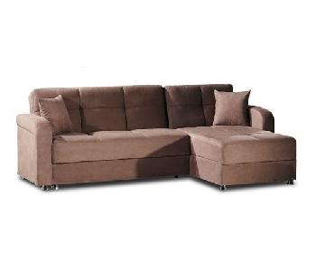 Brown Suede Sleeper Sectional Sofa w/ Storage & Ottoman