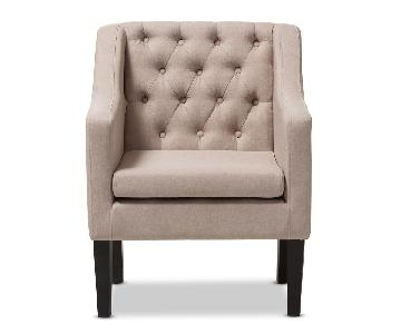 Baxton Studio Upholstered Button Tufted Modern Club Chairs