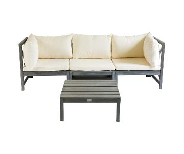 Wood 4 Piece Outdoor Sectional Sofa