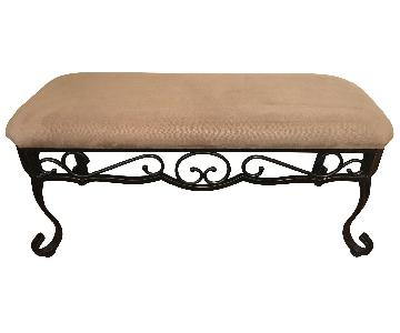 Iron Bench w/ Natural Upholstered Top