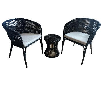 Laurel Group Outdoor Wicker Chairs + Table