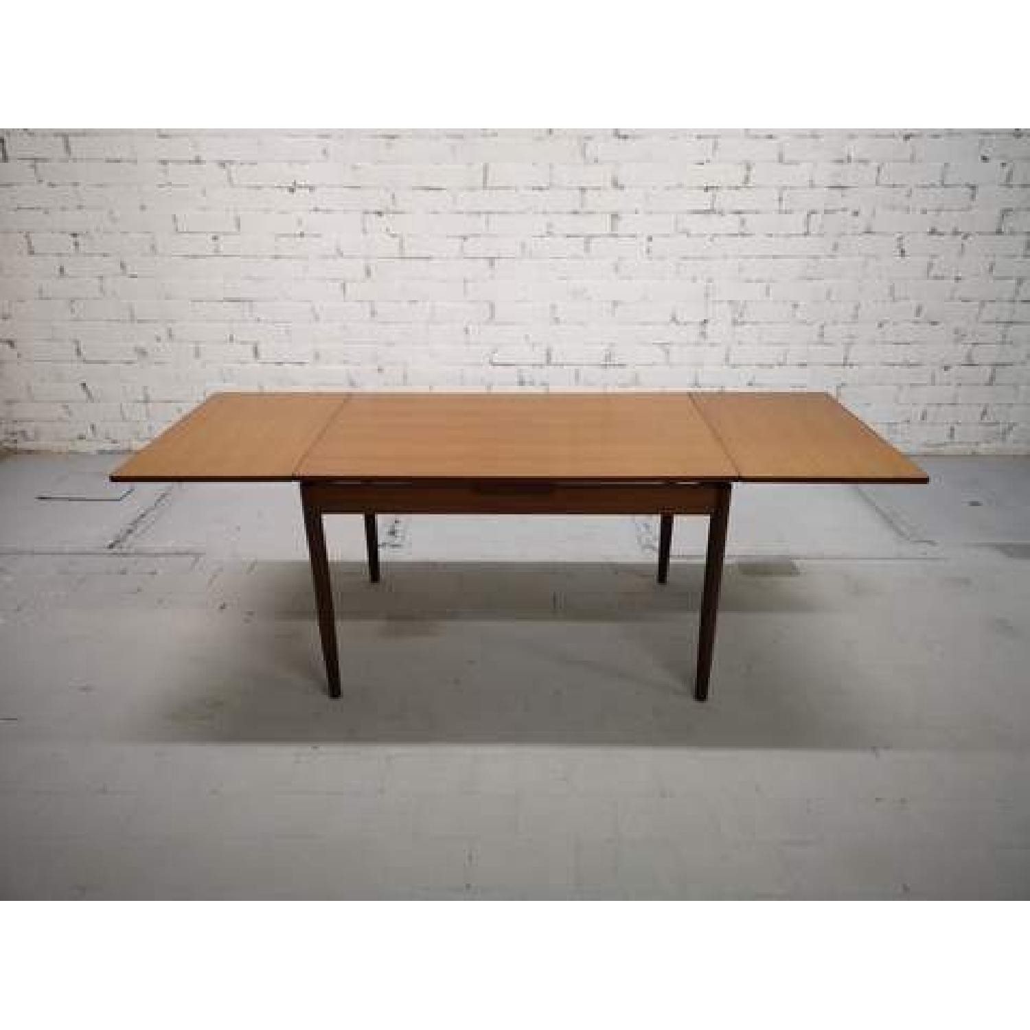 Mid-Century Modern Danish Extendable Draw Leaf Dining Table-3